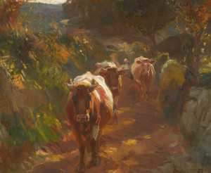 Art Prints of Bringing Up the Cows by Alfred James Munnings