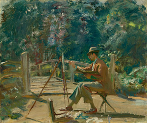 Art Prints of Maurice Codner Sketching at Wiston by Alfred James Munnings