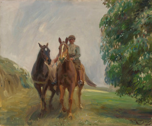Art Prints of Shrimp Leading Two Hunters by Alfred James Munnings