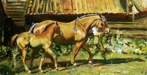 Art Prints of Show Dress, a Suffolk Mare with Her Foal by Alfred James Munnings