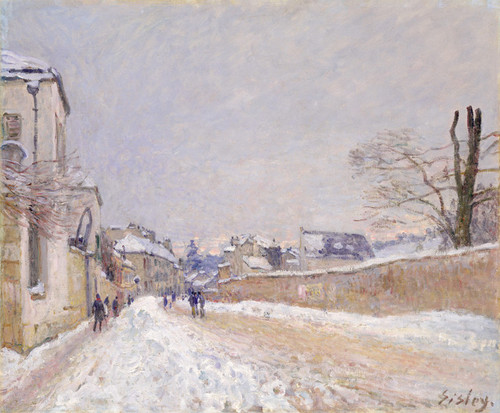 Art Prints of Rue Eugene Moussoir at Moret, Winter by Alfred Sisley