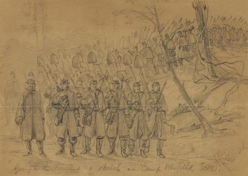 Art Prints of Going to the Trenches in Camp Winfield Scott (21008L) by Alfred Waud