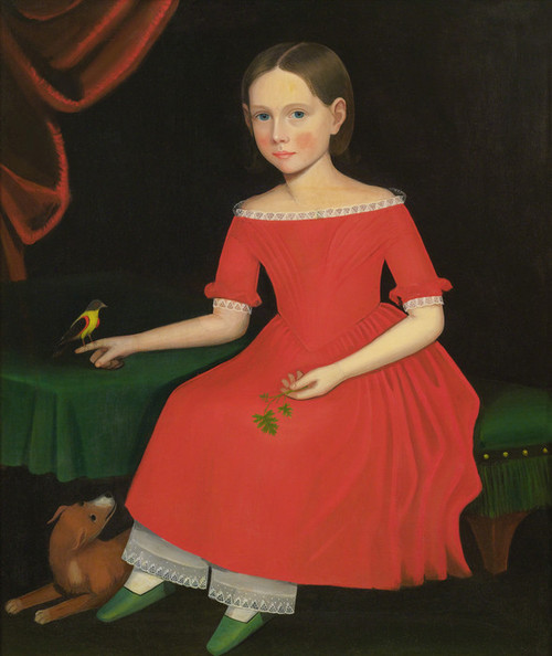 Art Prints of Portrait of a Winsome Young Girl in Red, Dog and Bird by Ammi Phillips