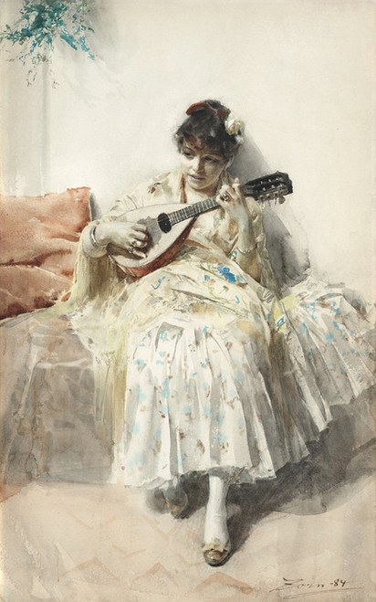 Art Prints of Girl Playing Mandolin, 1884 by Anders Zorn
