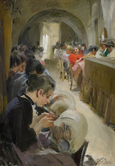Art Prints of Lace Making in Venice, 1894 by Anders Zorn