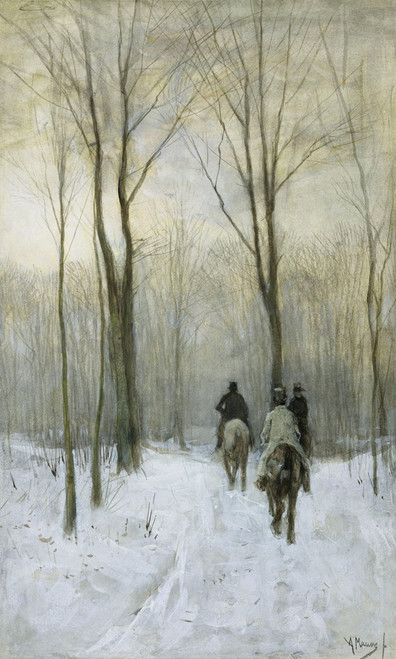 Riders in the Snow in the Haagse Bos by Anton Mauve | Fine Art Print