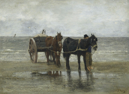 Art Prints of Horses and Cart on a Beach by Anton Mauve