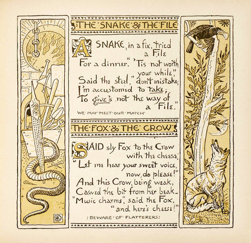 Art Prints of Snake and the File & The Fox and the Crow, Aesop's Fables