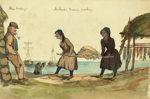 Art Prints of Icelandic Man and Women Working, 1862 (22892L) by Bayard Taylor