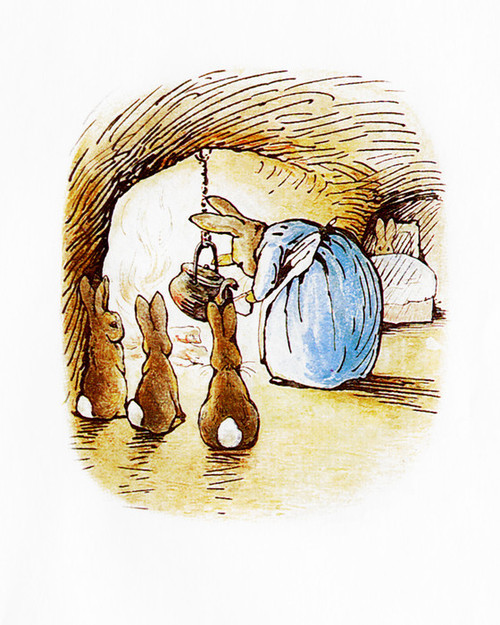Art Prints of Mrs. Rabbit Stirring the Kettle as Bunnies Watch by Beatrix Potter