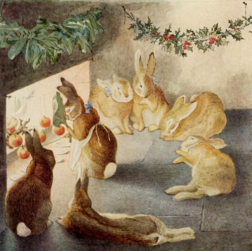 Art Prints of A Rabbit's Christmas Party, After the Meal by Beatrix Potter