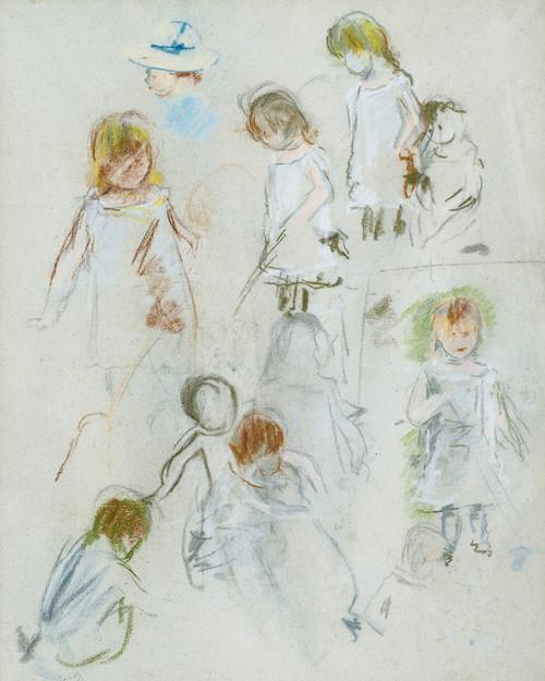 Art Prints of Figure Study of a Girl in a Garden by Berthe Morisot