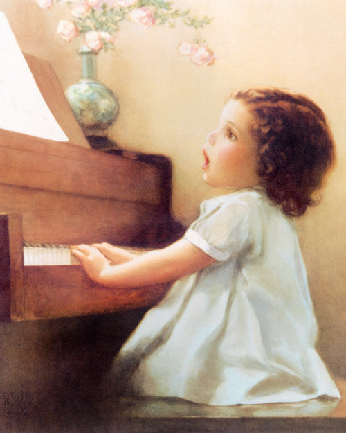 Art Prints of Lizzie Listens to the Birds Singing by Bessie Pease Gutmann