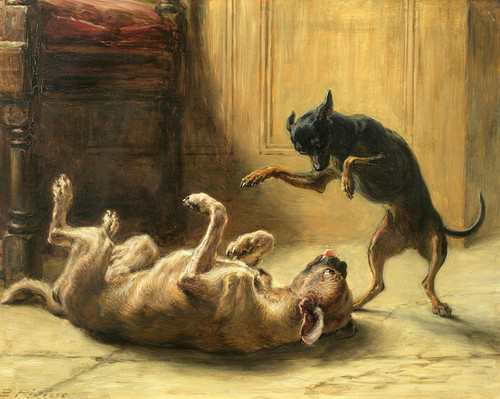 Art Prints of Playmates, Machester Terrier by Briton Riviere