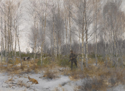 Art Prints of Fox Hunting by Bruno Liljefors