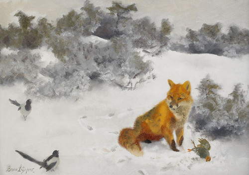 Art Prints of Fox in a Winter Landscape by Bruno Liljefors
