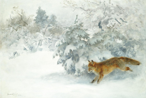 Art Prints of Fox in a Winter Landscape II by Bruno Liljefors