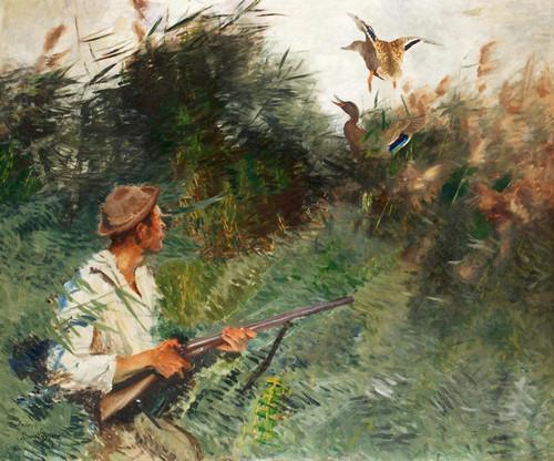 Art Prints of Hunter and Mallards by Bruno Liljefors