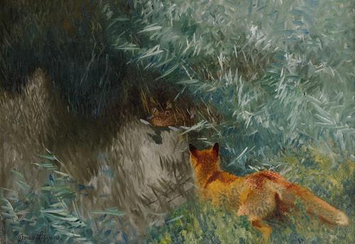 Art Prints of Stalking Fox by Bruno Liljefors