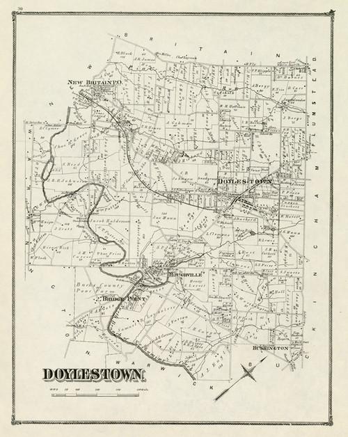 Art Prints of Doylestown, 1876, Bucks County Vintage Map