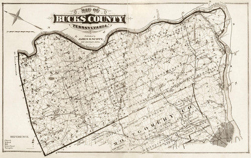 Art Prints of Bucks County Map Neutral, Bucks County Vintage Map