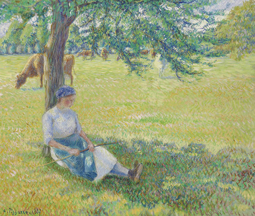 Art Prints of Gardeuse Cows by Camille Pissarro