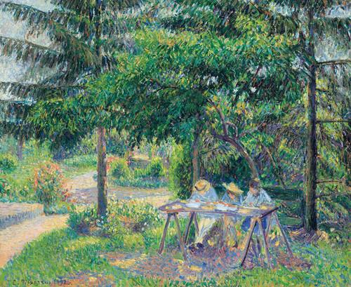 Art Prints of Children in the Garden at Eragny by Camille Pissarro