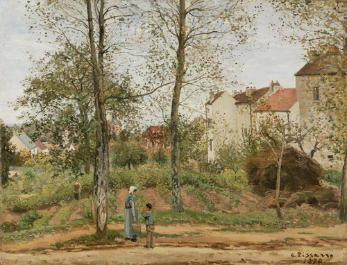 Art Prints of Houses at Bougival, Autumn by Camille Pissarro