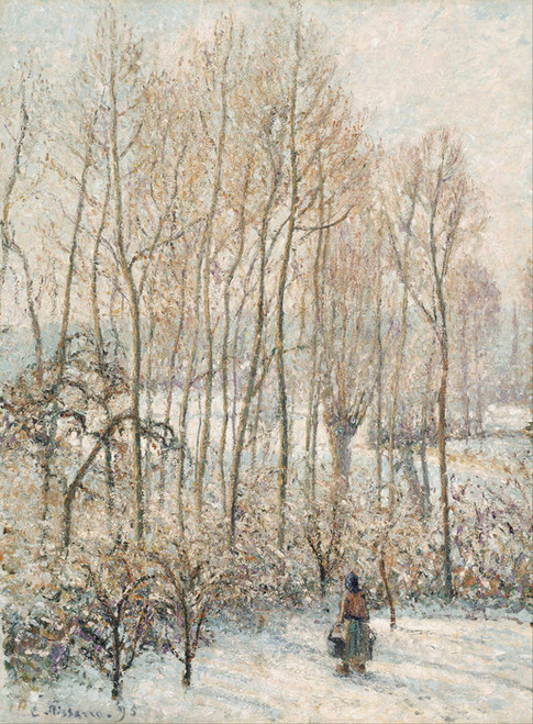 Art Prints of Morning Sunlight on the Snow, Eragny-sur-Epte by Camille Pissarro