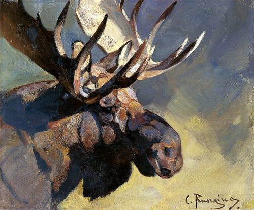Art Prints of Moose Head II by Carl Rungius