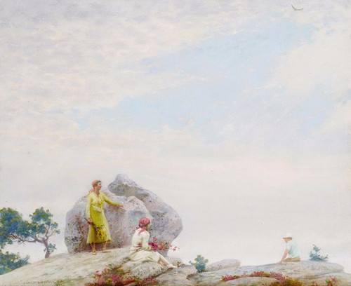 Art Prints of Gray Day on the Cliff by Charles Courtney Curran