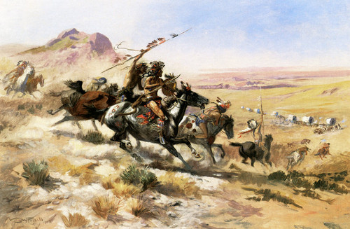Art Prints of Attack on a Wagon Train by Charles Marion Russell