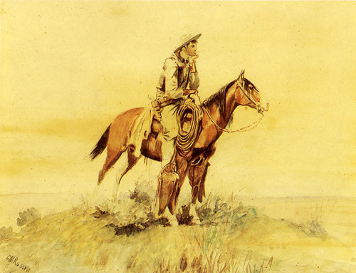 Art Prints of Cowboy on Horseback, Meditation II by Charles Marion Russell