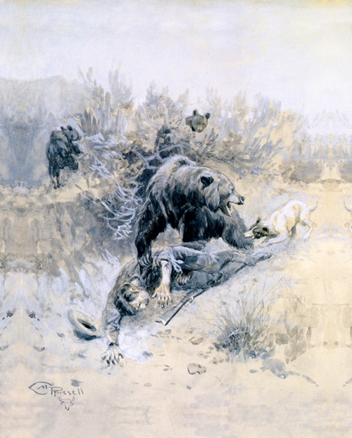 He Tripped And Fell Into A Den On Mother Bear Cubs By CM Russell