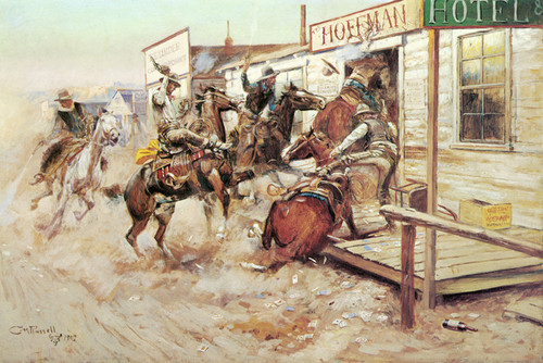Art Prints of In Without Knocking by Charles Marion Russell
