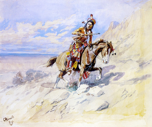Art Prints of Indian on Horseback by Charles Marion Russell