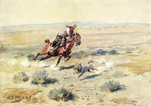 Art Prints of Roping a Wolf, No. 2 by Charles Marion Russell
