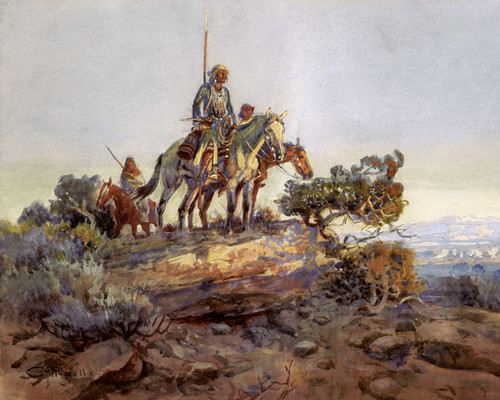Art Prints of Navajo Lookout by Charles Marion Russell