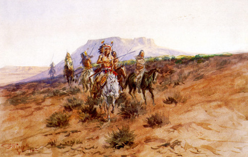 Art Prints of Indian War Party on the Warpath by Charles Marion Russell