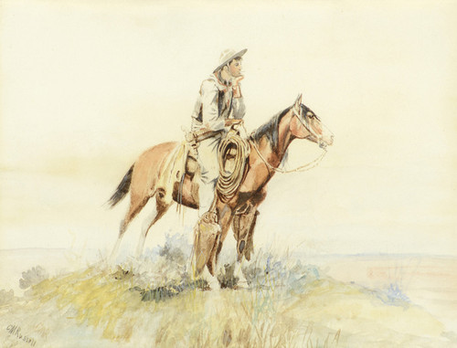 Art Prints of Cowboy on Horseback, Meditation by Charles Marion Russell
