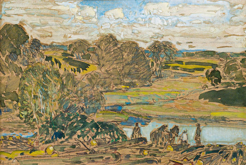 Art Prints of Extensive Landscape with River by Childe Hassam