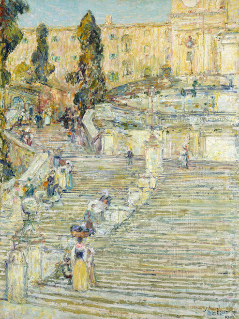 The Spanish Stairs, Rome By Childe Hassam