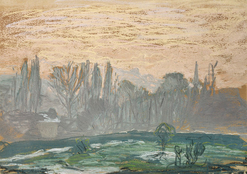 Art Prints of Landscape with Evening Sky by Claude Monet