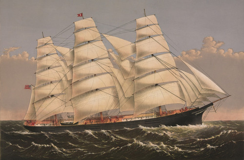 Art Prints of Clipper Ship Three Brothers, Largest Ship in the World by Currier & Ives