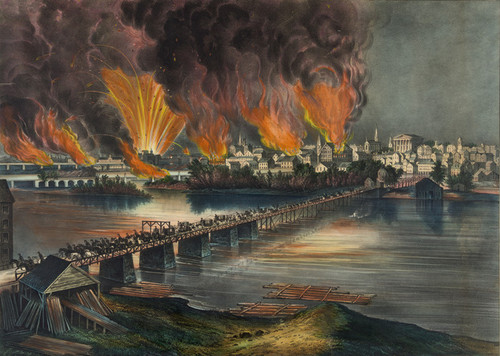 Art Prints of Fall of Richmond, VA on the Night of April 2nd, 1865 by Currier & Ives