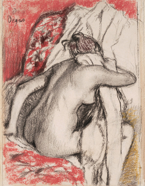 Art Prints of After the Bath, Woman Drying Herself by Edgar Degas