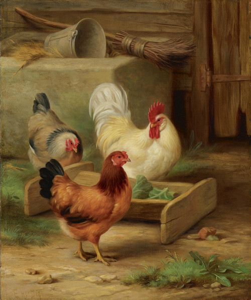 Art Prints of Poultry Feeding in a Barn by Edgar Hunt