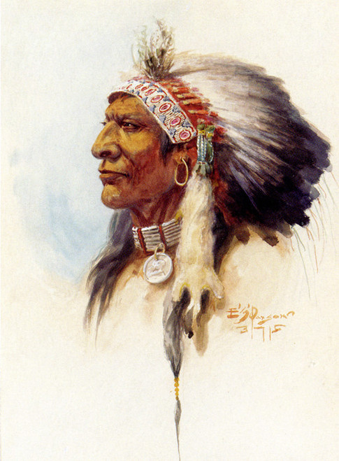 Art Prints of Blackfoot Chief in Headdress by Edgar Paxson