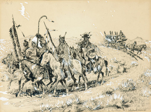Art Prints of Crow Chiefs Mounted on Their Best Ponies by Edward Borein