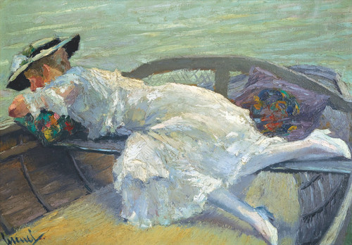 Art Prints of Girl in a Boat by Edward Cucuel